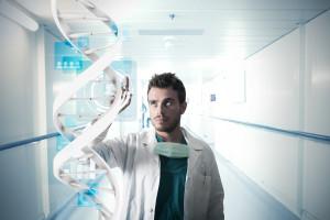 čovek u laboratoriji konstruše dna