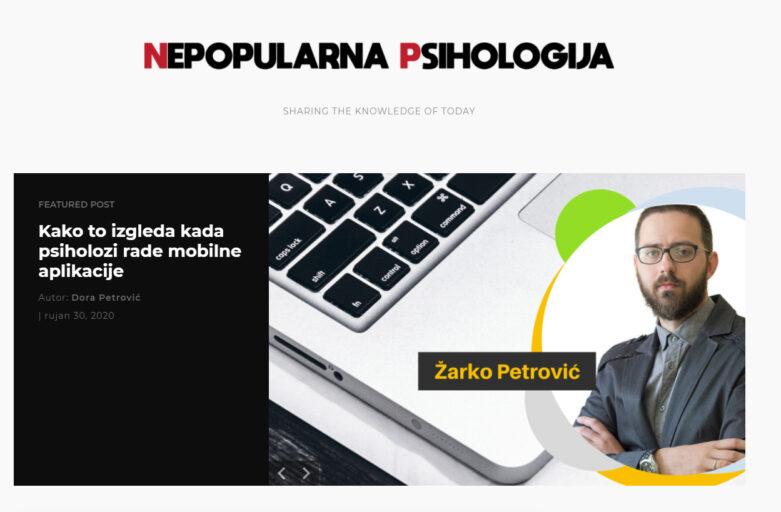 nepopularna psihologija intervju sa zarkom petrovicem